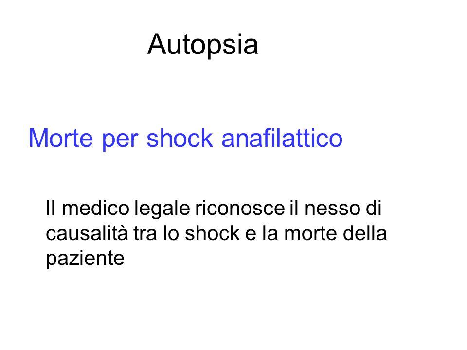 Autopsia Morte per shock anafilattico Il medico legale riconosce il nesso di causalità tra lo shock e la morte della paziente