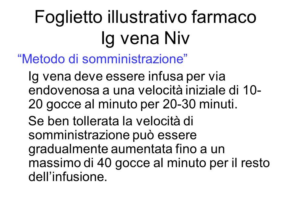 Foglietto illustrativo farmaco Ig vena Niv Metodo di somministrazione Ig vena deve essere infusa per via endovenosa a una velocità iniziale di 10- 20 gocce al minuto per 20-30 minuti.