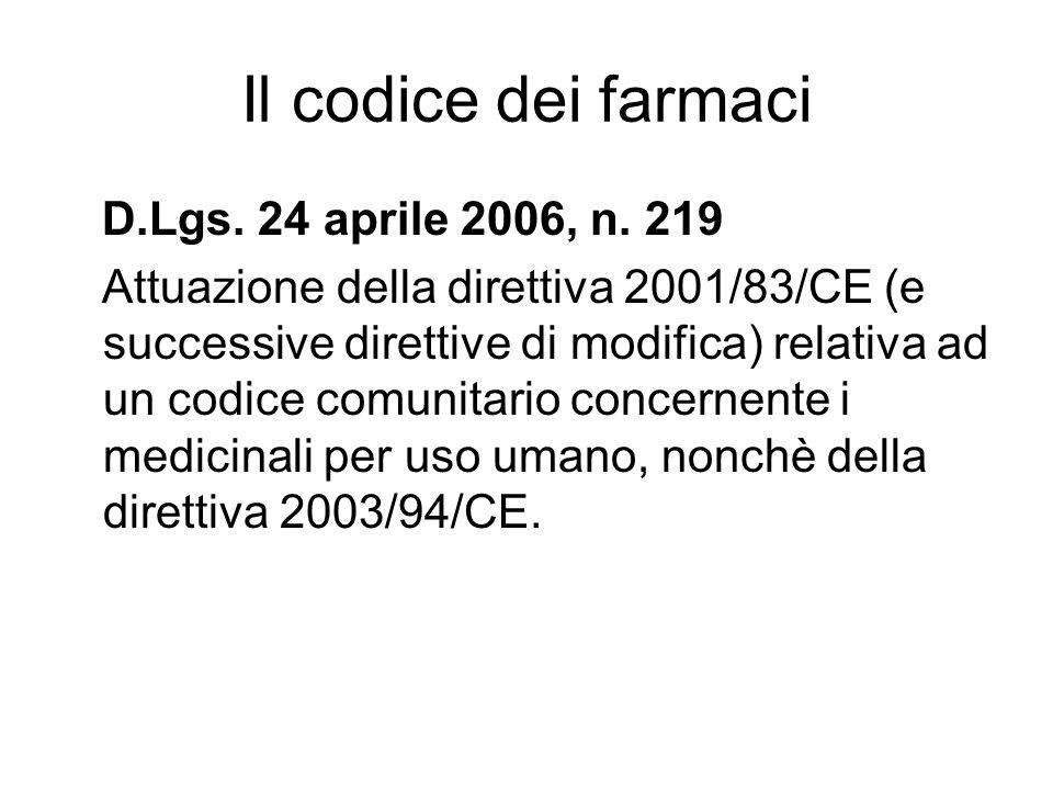Il codice dei farmaci D.Lgs.24 aprile 2006, n.