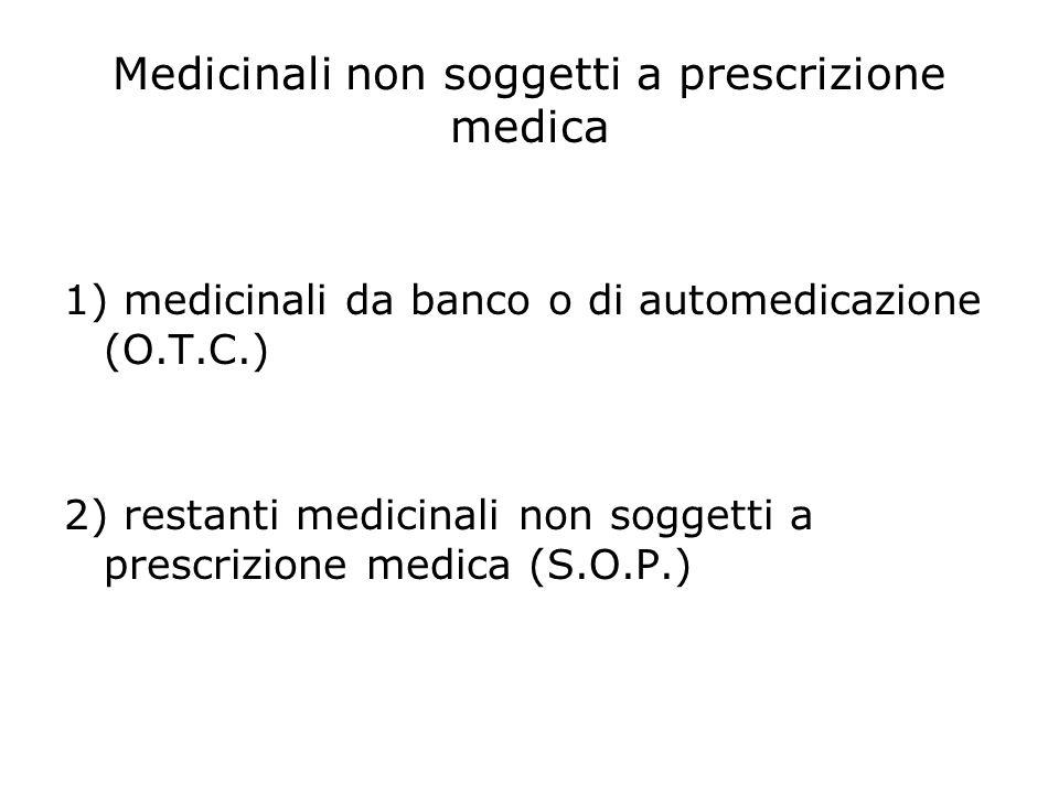Medicinali non soggetti a prescrizione medica 1) medicinali da banco o di automedicazione (O.T.C.) 2) restanti medicinali non soggetti a prescrizione medica (S.O.P.)