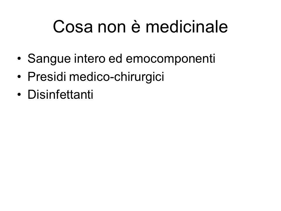 Cosa non è medicinale Sangue intero ed emocomponenti Presidi medico-chirurgici Disinfettanti
