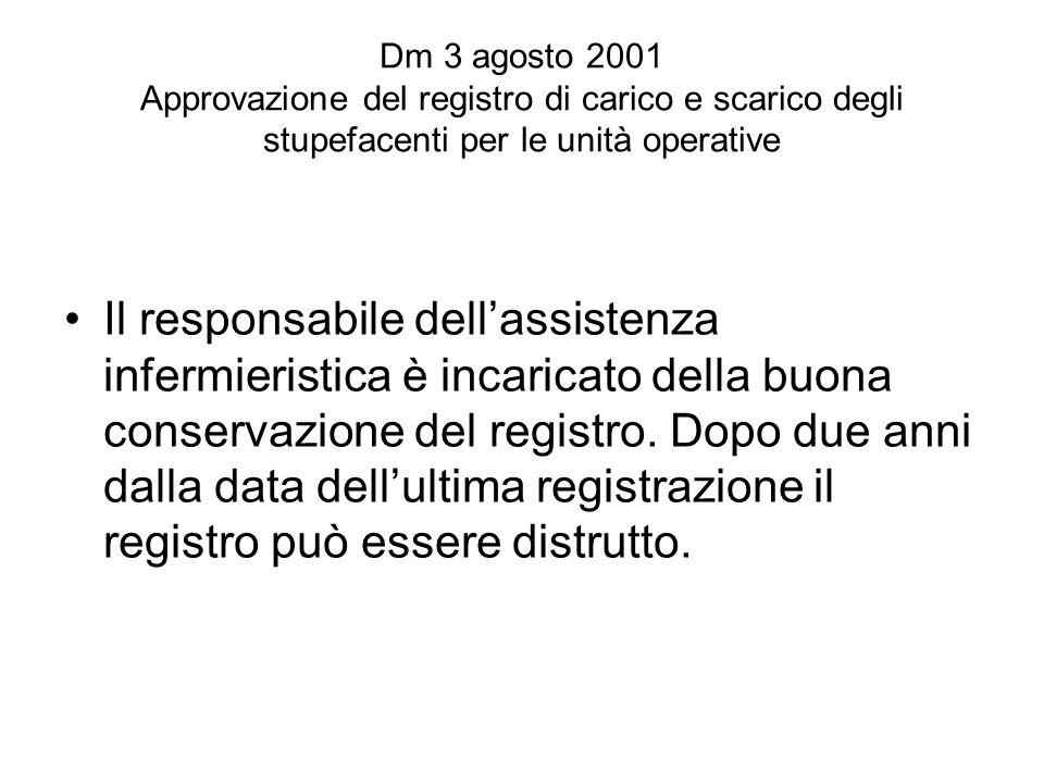 Dm 3 agosto 2001 Approvazione del registro di carico e scarico degli stupefacenti per le unità operative Il responsabile dellassistenza infermieristica è incaricato della buona conservazione del registro.