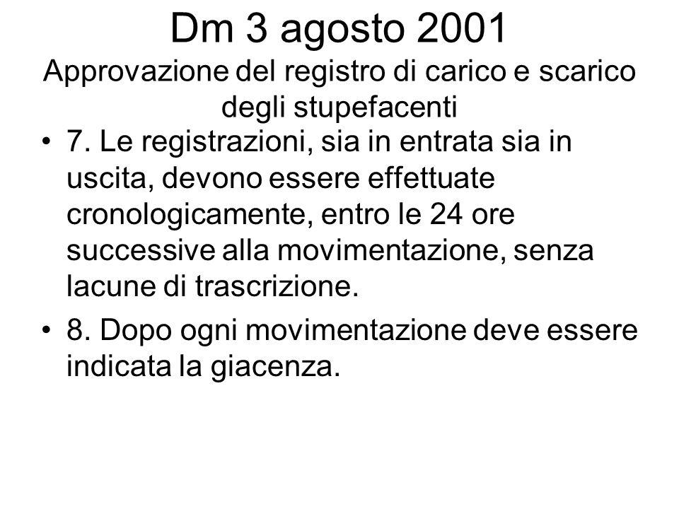Dm 3 agosto 2001 Approvazione del registro di carico e scarico degli stupefacenti 7. Le registrazioni, sia in entrata sia in uscita, devono essere eff