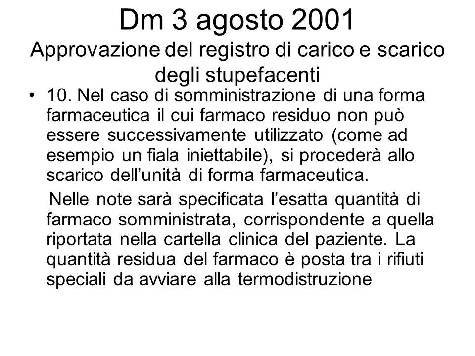Dm 3 agosto 2001 Approvazione del registro di carico e scarico degli stupefacenti 10. Nel caso di somministrazione di una forma farmaceutica il cui fa