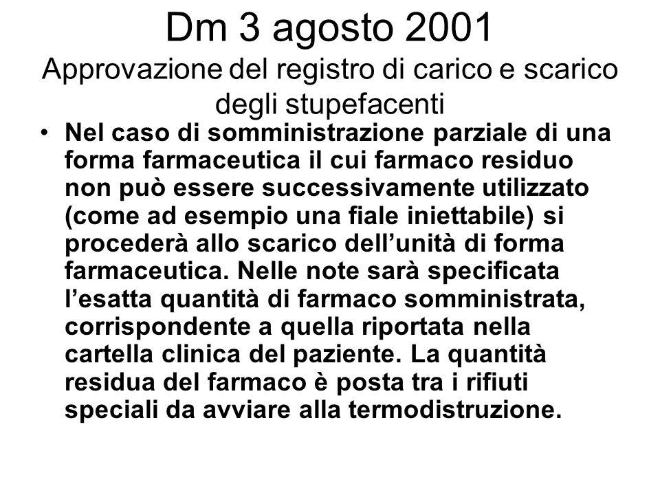 Dm 3 agosto 2001 Approvazione del registro di carico e scarico degli stupefacenti Nel caso di somministrazione parziale di una forma farmaceutica il c
