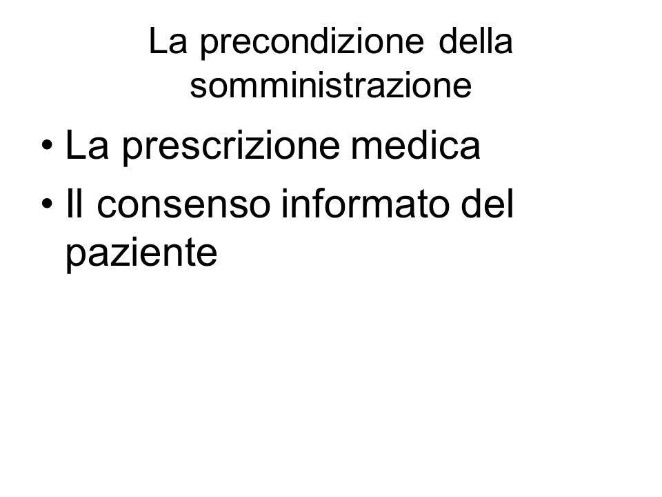 La precondizione della somministrazione La prescrizione medica Il consenso informato del paziente