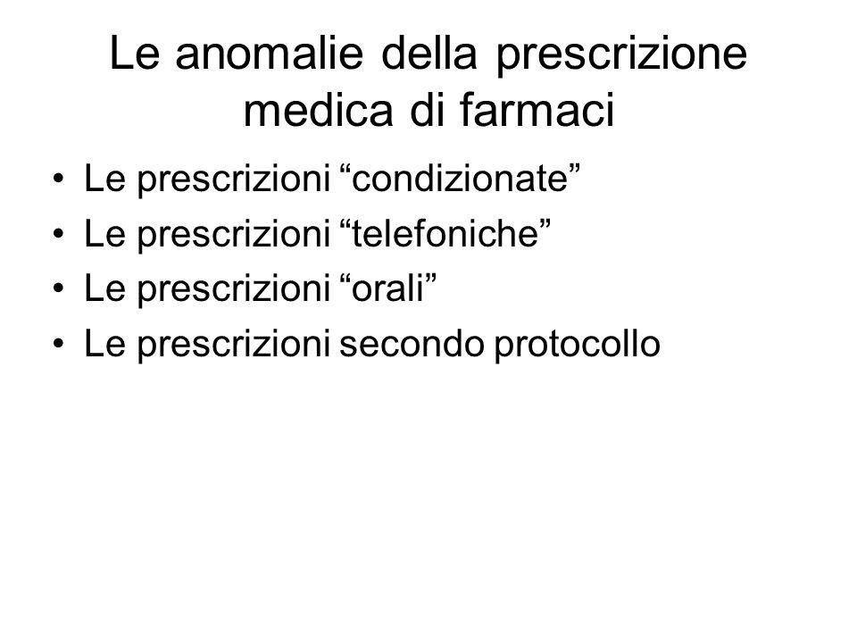 Le anomalie della prescrizione medica di farmaci Le prescrizioni condizionate Le prescrizioni telefoniche Le prescrizioni orali Le prescrizioni secondo protocollo