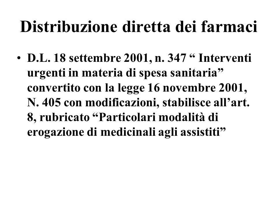 Distribuzione diretta dei farmaci D.L. 18 settembre 2001, n. 347 Interventi urgenti in materia di spesa sanitaria convertito con la legge 16 novembre