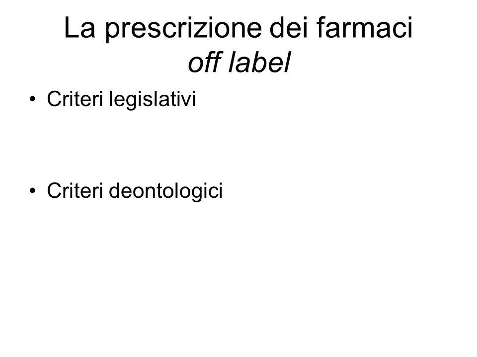 La prescrizione dei farmaci off label Criteri legislativi Criteri deontologici