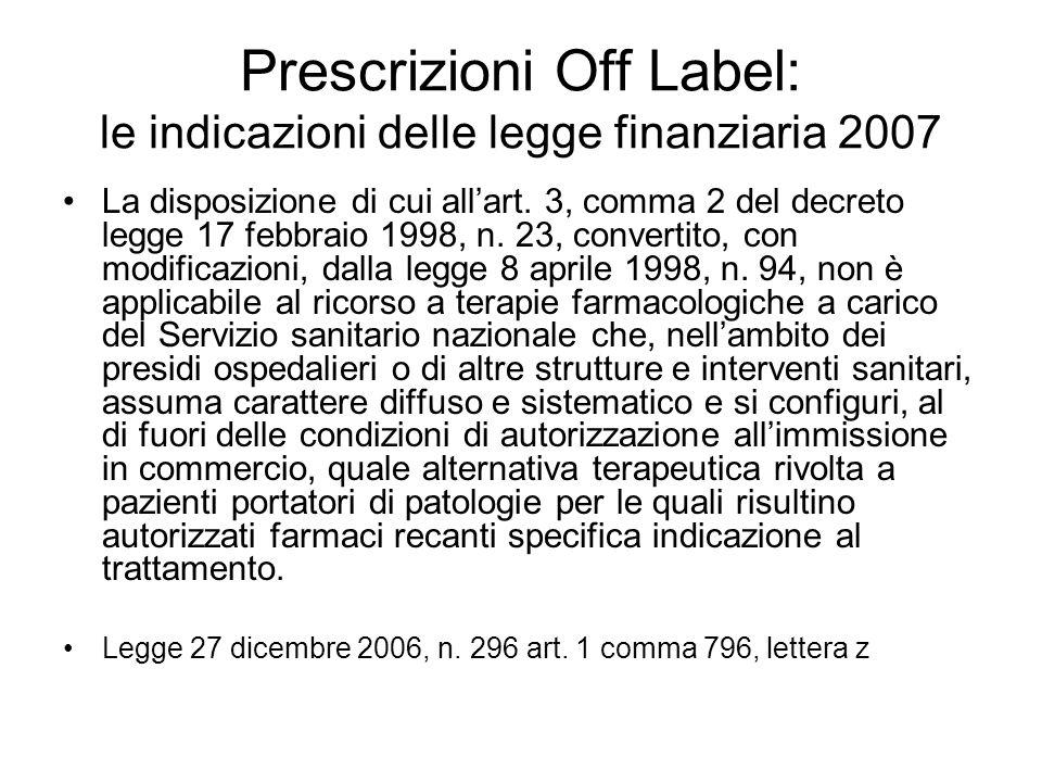 Prescrizioni Off Label: le indicazioni delle legge finanziaria 2007 La disposizione di cui allart. 3, comma 2 del decreto legge 17 febbraio 1998, n. 2