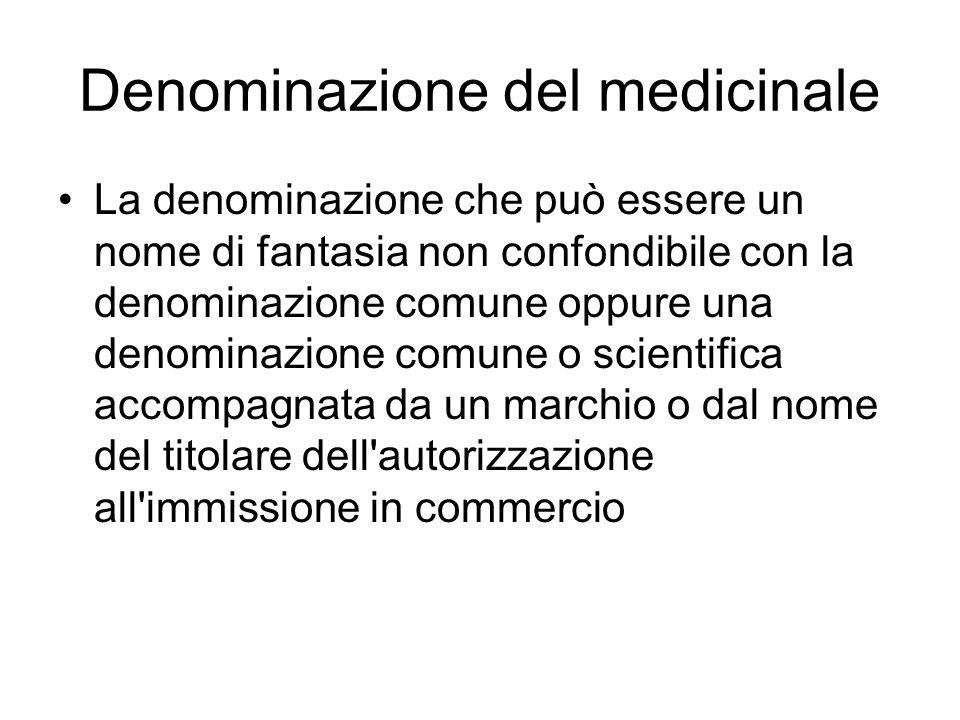 Denominazione del medicinale La denominazione che può essere un nome di fantasia non confondibile con la denominazione comune oppure una denominazione