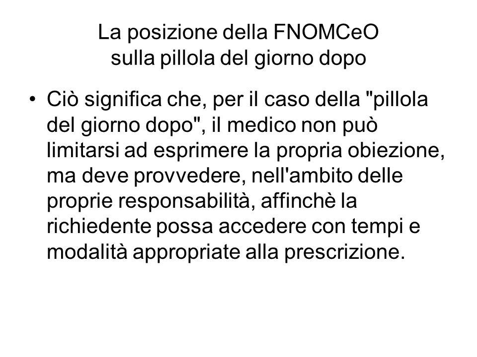 La posizione della FNOMCeO sulla pillola del giorno dopo Ciò significa che, per il caso della