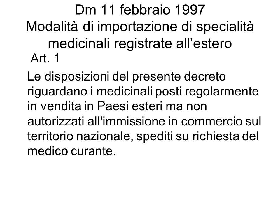 Dm 11 febbraio 1997 Modalità di importazione di specialità medicinali registrate allestero Art. 1 Le disposizioni del presente decreto riguardano i me