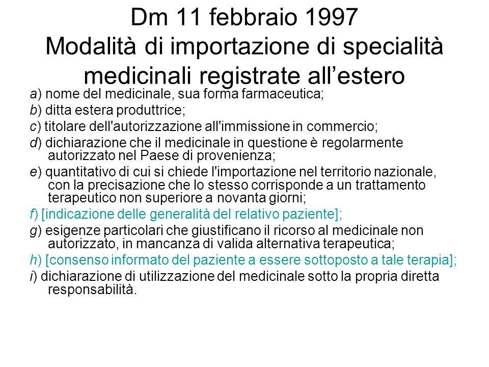 Dm 11 febbraio 1997 Modalità di importazione di specialità medicinali registrate allestero a) nome del medicinale, sua forma farmaceutica; b) ditta es