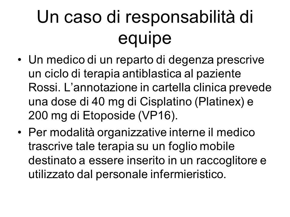 Un caso di responsabilità di equipe Un medico di un reparto di degenza prescrive un ciclo di terapia antiblastica al paziente Rossi.