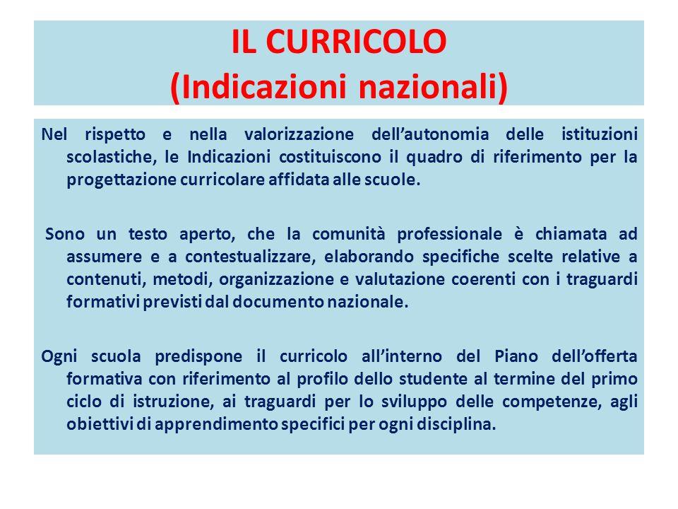 IL CURRICOLO (Indicazioni nazionali) Nel rispetto e nella valorizzazione dellautonomia delle istituzioni scolastiche, le Indicazioni costituiscono il