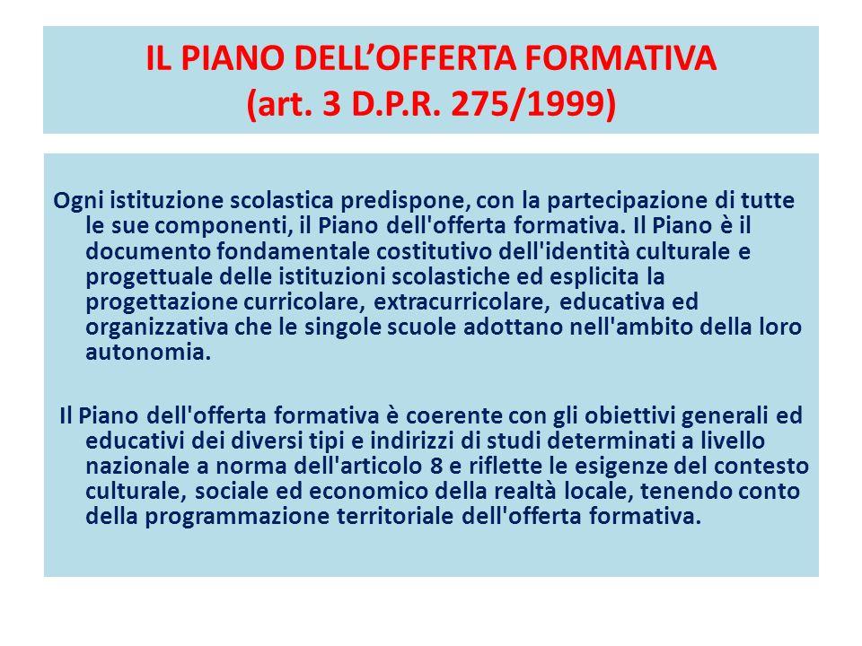 IL PIANO DELLOFFERTA FORMATIVA (art. 3 D.P.R. 275/1999) Ogni istituzione scolastica predispone, con la partecipazione di tutte le sue componenti, il P