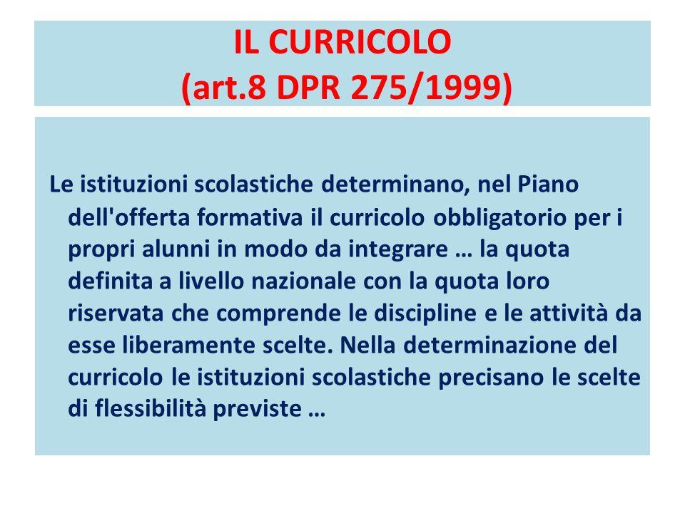 IL CURRICOLO (art.8 DPR 275/1999) Le istituzioni scolastiche determinano, nel Piano dell'offerta formativa il curricolo obbligatorio per i propri alun