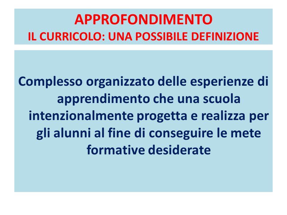 APPROFONDIMENTO IL CURRICOLO: UNA POSSIBILE DEFINIZIONE Complesso organizzato delle esperienze di apprendimento che una scuola intenzionalmente proget