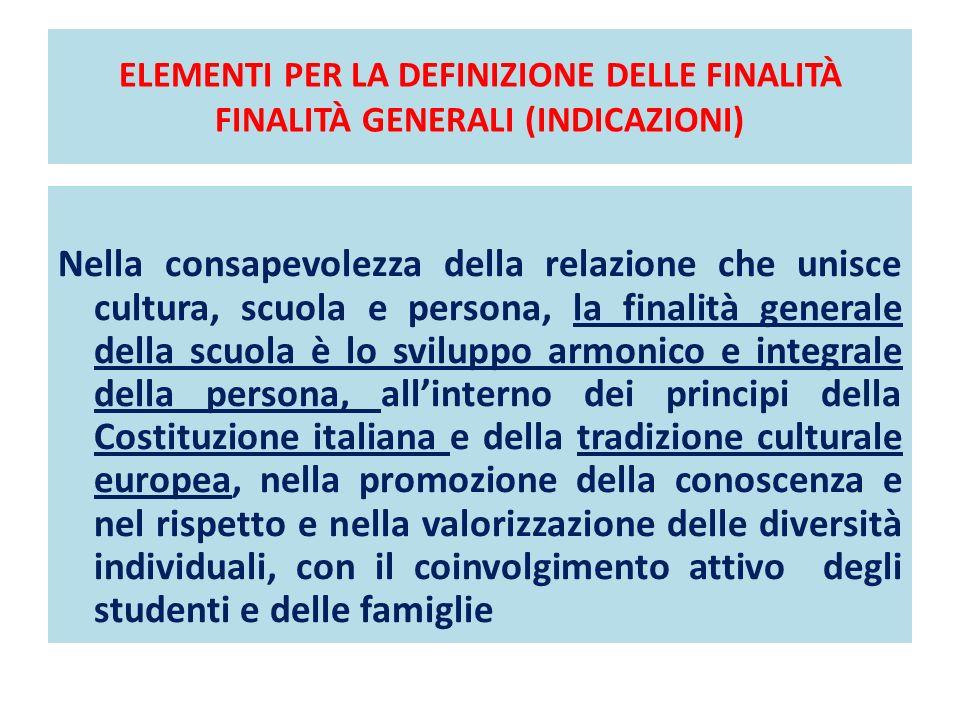 ELEMENTI PER LA DEFINIZIONE DELLE FINALITÀ FINALITÀ GENERALI (INDICAZIONI) Nella consapevolezza della relazione che unisce cultura, scuola e persona,