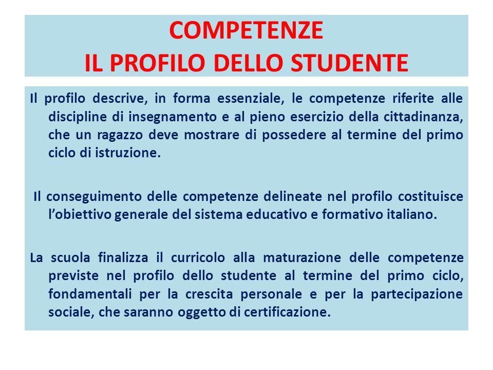 COMPETENZE IL PROFILO DELLO STUDENTE Il profilo descrive, in forma essenziale, le competenze riferite alle discipline di insegnamento e al pieno eserc