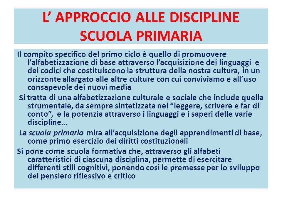 L APPROCCIO ALLE DISCIPLINE SCUOLA PRIMARIA Il compito specifico del primo ciclo è quello di promuovere lalfabetizzazione di base attraverso lacquisiz