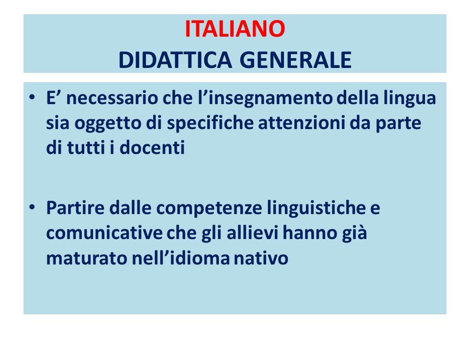 ITALIANO DIDATTICA GENERALE E necessario che linsegnamento della lingua sia oggetto di specifiche attenzioni da parte di tutti i docenti Partire dalle