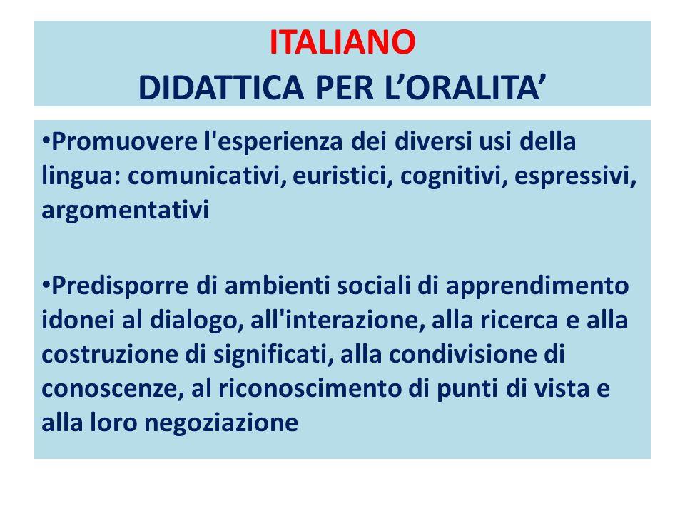 ITALIANO DIDATTICA PER LORALITA Promuovere l'esperienza dei diversi usi della lingua: comunicativi, euristici, cognitivi, espressivi, argomentativi Pr