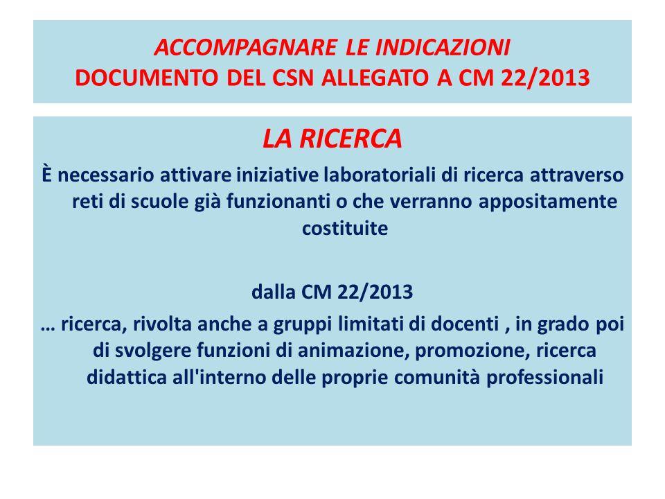 ACCOMPAGNARE LE INDICAZIONI DOCUMENTO DEL CSN ALLEGATO A CM 22/2013 LA RICERCA È necessario attivare iniziative laboratoriali di ricerca attraverso re