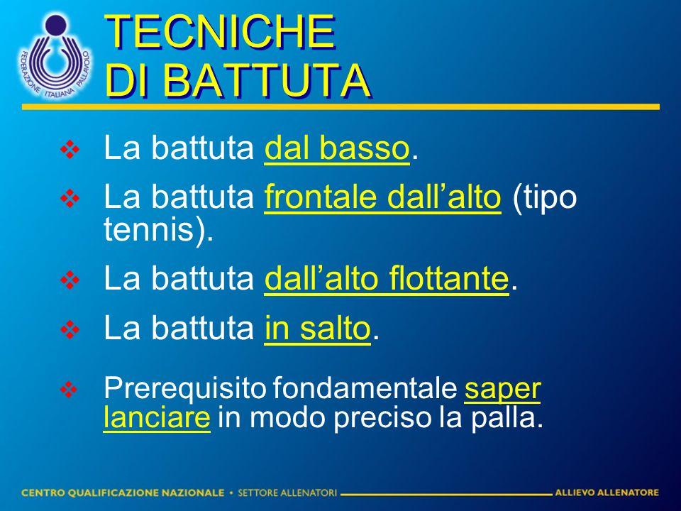 TECNICHE DI BATTUTA La battuta dal basso.La battuta frontale dallalto (tipo tennis).