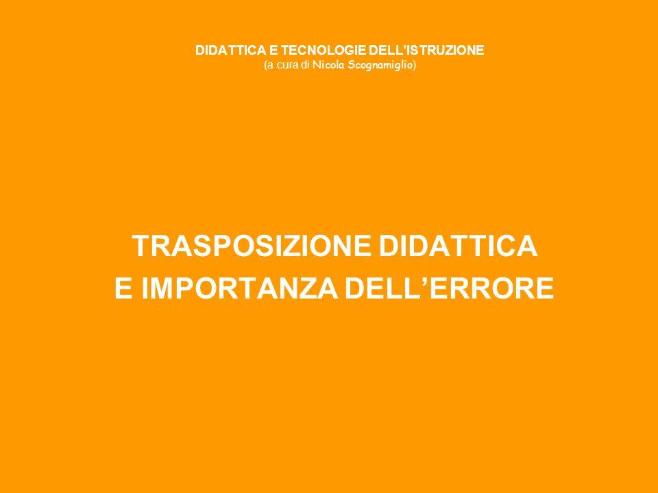 DIDATTICA E TECNOLOGIE DELLISTRUZIONE (a cura di Nicola Scognamiglio ) TRASPOSIZIONE DIDATTICA E IMPORTANZA DELLERRORE