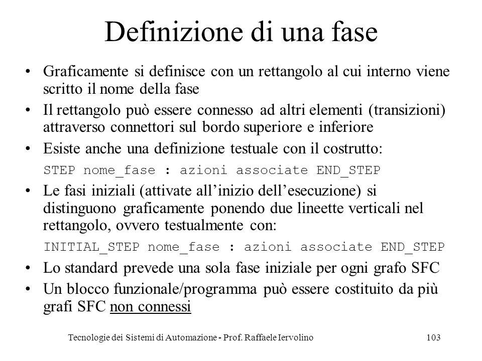 Tecnologie dei Sistemi di Automazione - Prof. Raffaele Iervolino103 Definizione di una fase Graficamente si definisce con un rettangolo al cui interno
