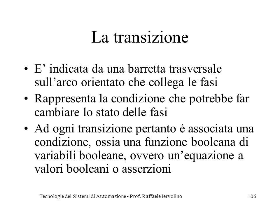 Tecnologie dei Sistemi di Automazione - Prof. Raffaele Iervolino106 La transizione E indicata da una barretta trasversale sullarco orientato che colle