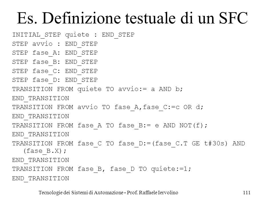 Tecnologie dei Sistemi di Automazione - Prof. Raffaele Iervolino111 Es. Definizione testuale di un SFC INITIAL_STEP quiete : END_STEP STEP avvio : END