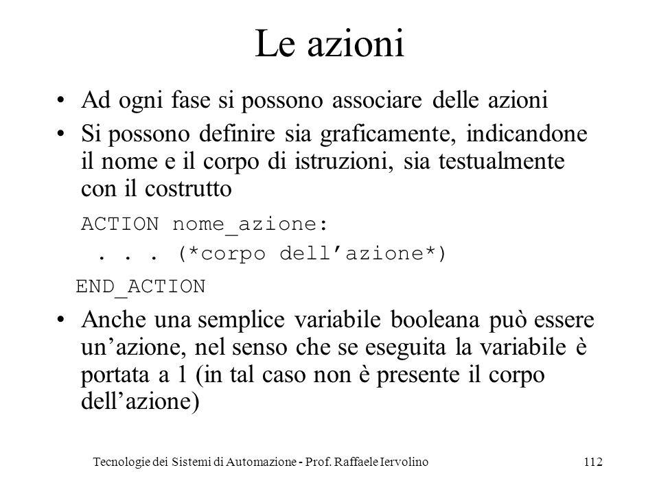 Tecnologie dei Sistemi di Automazione - Prof. Raffaele Iervolino112 Le azioni Ad ogni fase si possono associare delle azioni Si possono definire sia g