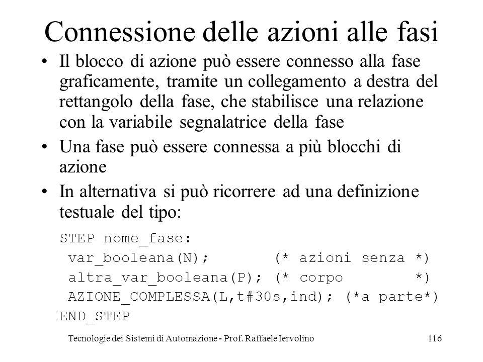 Tecnologie dei Sistemi di Automazione - Prof. Raffaele Iervolino116 Connessione delle azioni alle fasi Il blocco di azione può essere connesso alla fa