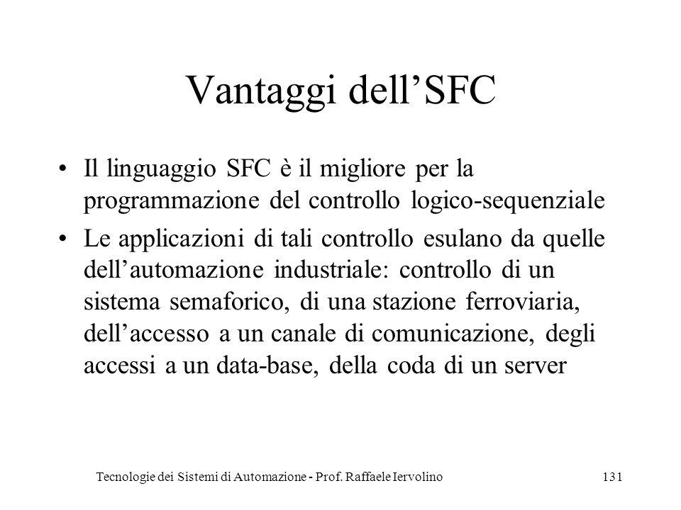 Tecnologie dei Sistemi di Automazione - Prof. Raffaele Iervolino131 Vantaggi dellSFC Il linguaggio SFC è il migliore per la programmazione del control