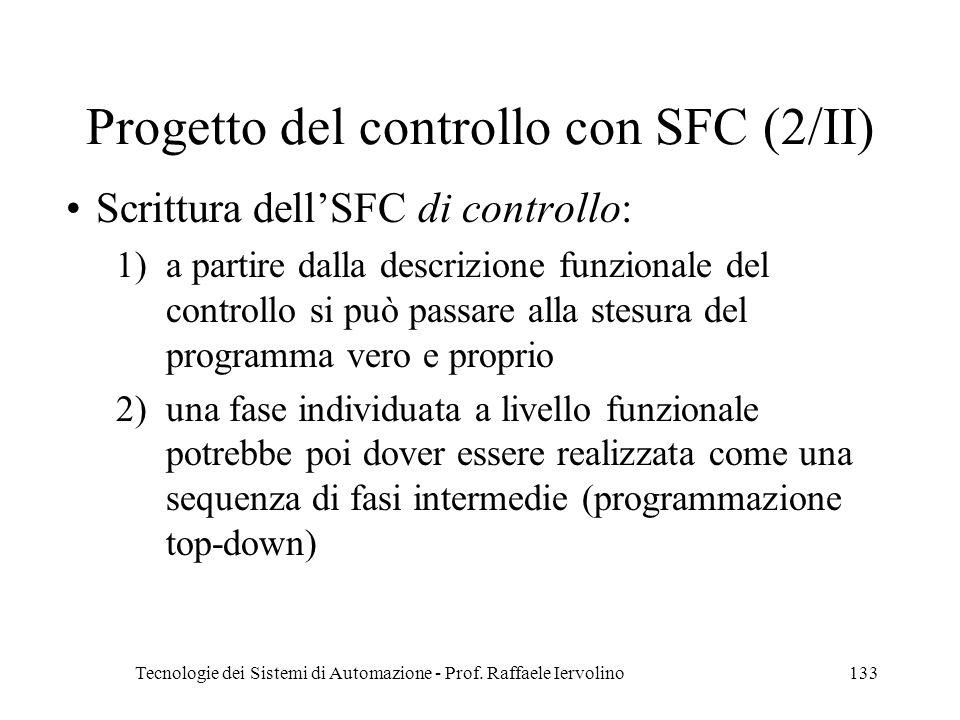 Tecnologie dei Sistemi di Automazione - Prof. Raffaele Iervolino133 Progetto del controllo con SFC (2/II) Scrittura dellSFC di controllo: 1)a partire
