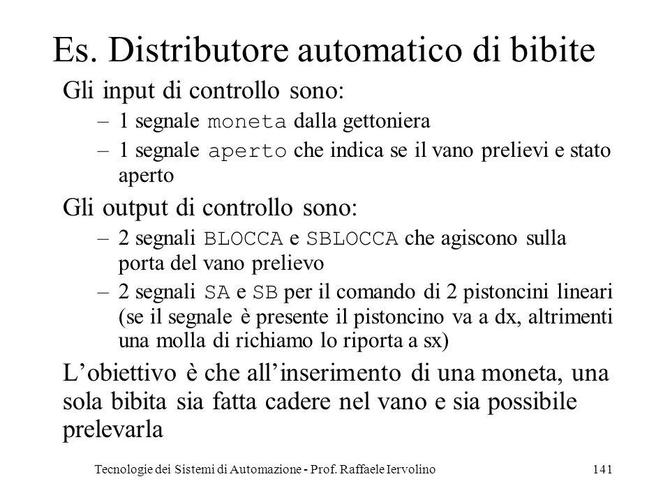 Tecnologie dei Sistemi di Automazione - Prof. Raffaele Iervolino141 Es. Distributore automatico di bibite Gli input di controllo sono: –1 segnale mone