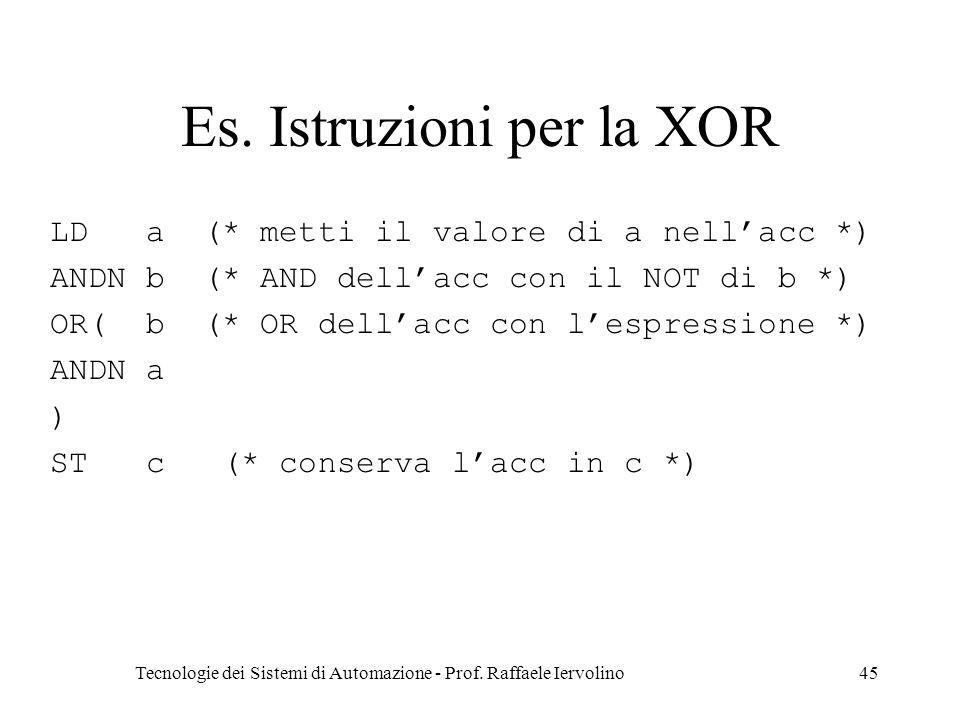 Tecnologie dei Sistemi di Automazione - Prof. Raffaele Iervolino45 Es. Istruzioni per la XOR LDa (* metti il valore di a nellacc *) ANDN b (* AND dell