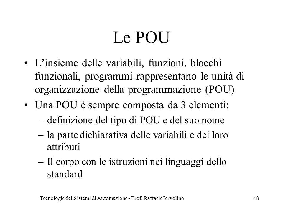 Tecnologie dei Sistemi di Automazione - Prof. Raffaele Iervolino48 Le POU Linsieme delle variabili, funzioni, blocchi funzionali, programmi rappresent