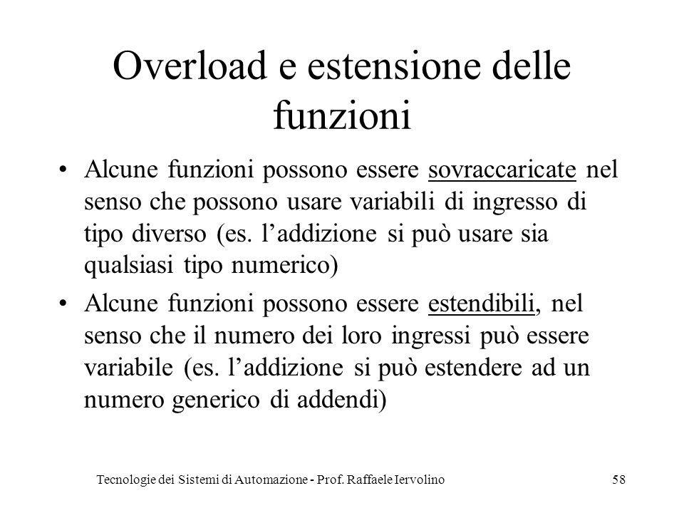 Tecnologie dei Sistemi di Automazione - Prof. Raffaele Iervolino58 Overload e estensione delle funzioni Alcune funzioni possono essere sovraccaricate