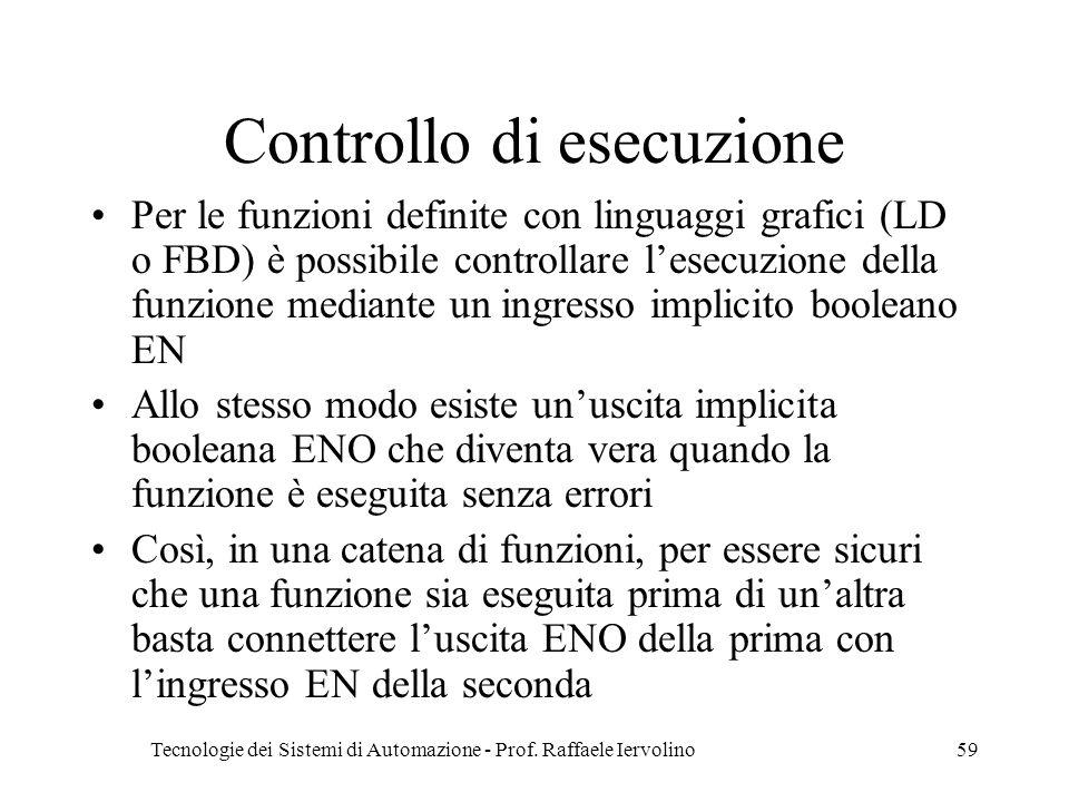 Tecnologie dei Sistemi di Automazione - Prof. Raffaele Iervolino59 Controllo di esecuzione Per le funzioni definite con linguaggi grafici (LD o FBD) è