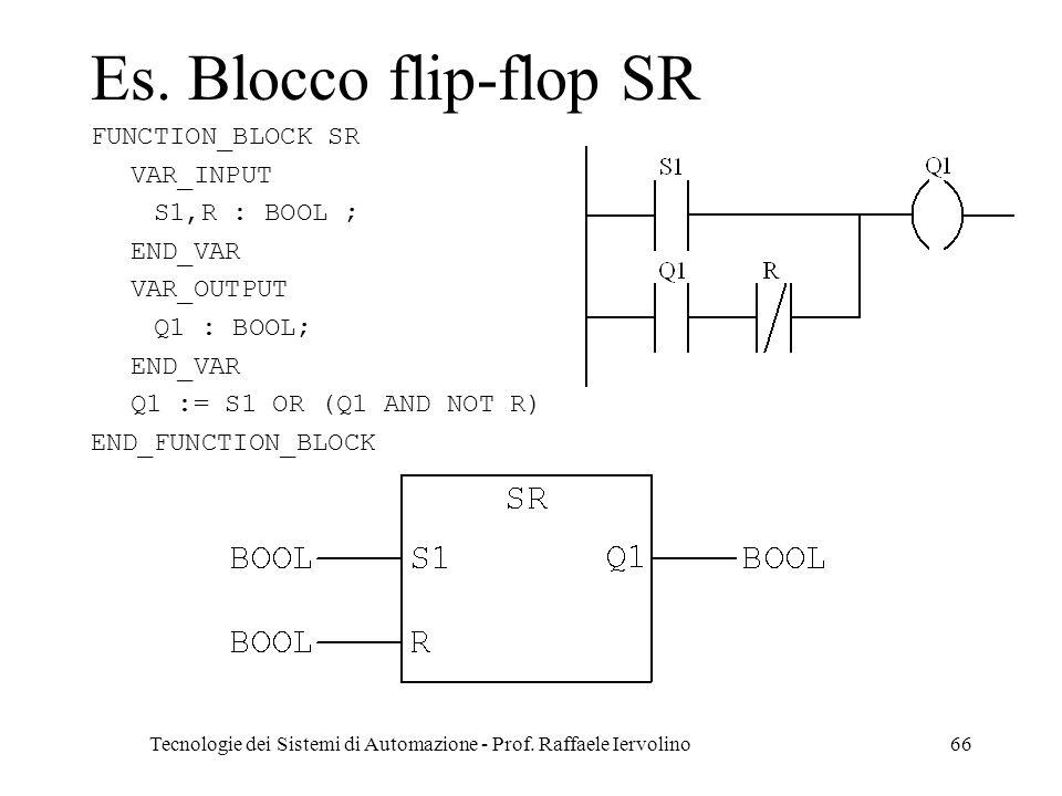 Tecnologie dei Sistemi di Automazione - Prof. Raffaele Iervolino66 Es. Blocco flip-flop SR FUNCTION_BLOCK SR VAR_INPUT S1,R : BOOL ; END_VAR VAR_OUTPU
