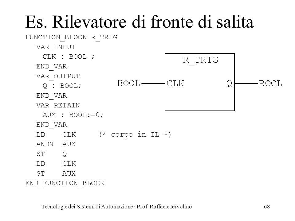 Tecnologie dei Sistemi di Automazione - Prof. Raffaele Iervolino68 Es. Rilevatore di fronte di salita FUNCTION_BLOCK R_TRIG VAR_INPUT CLK : BOOL ; END