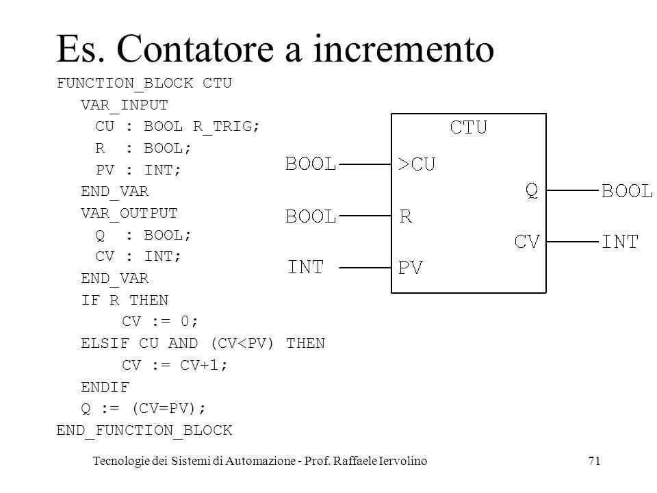 Tecnologie dei Sistemi di Automazione - Prof.Raffaele Iervolino71 Es.