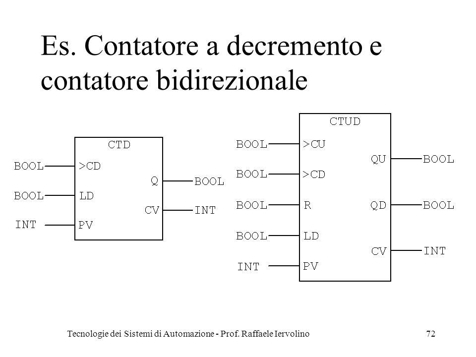 Tecnologie dei Sistemi di Automazione - Prof.Raffaele Iervolino72 Es.