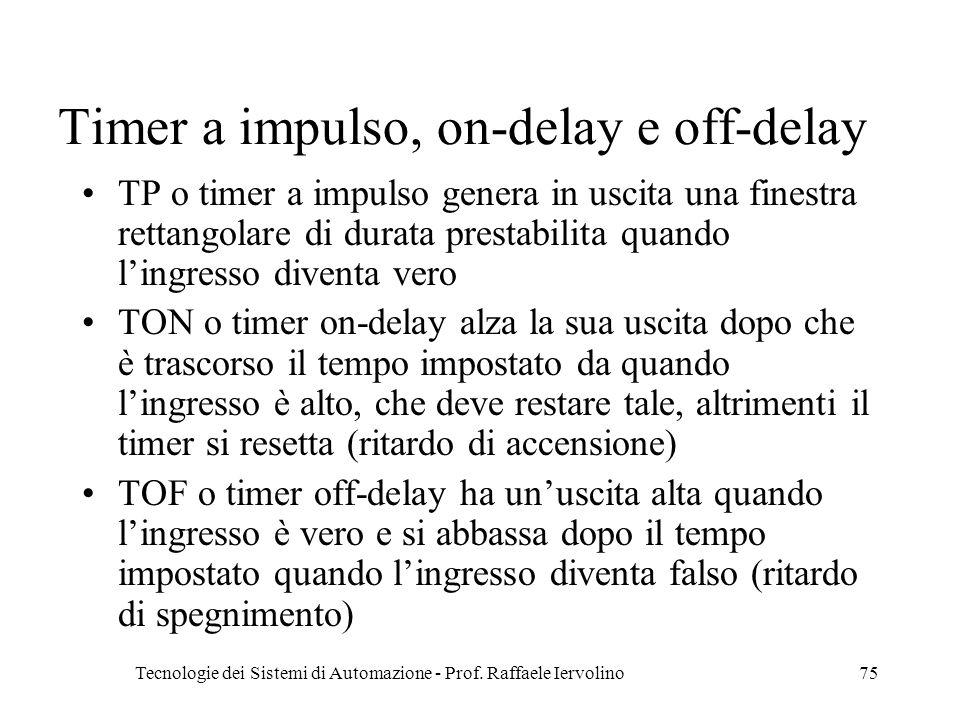Tecnologie dei Sistemi di Automazione - Prof. Raffaele Iervolino75 Timer a impulso, on-delay e off-delay TP o timer a impulso genera in uscita una fin