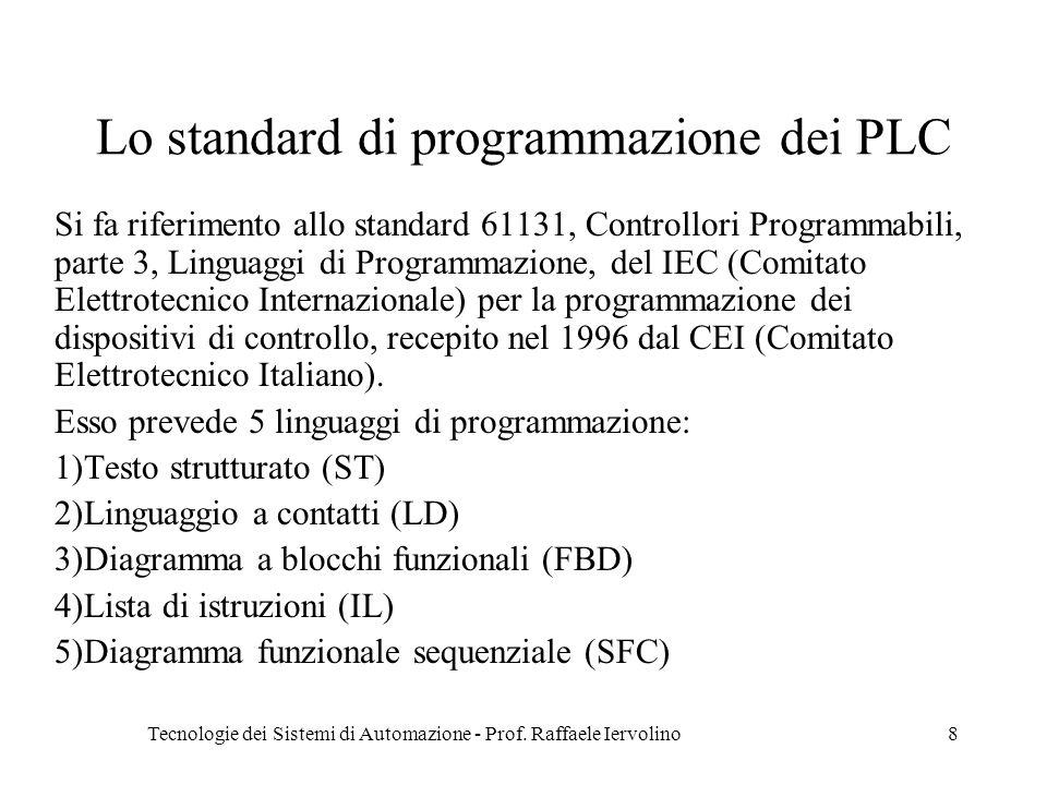 Tecnologie dei Sistemi di Automazione - Prof. Raffaele Iervolino8 Lo standard di programmazione dei PLC Si fa riferimento allo standard 61131, Control