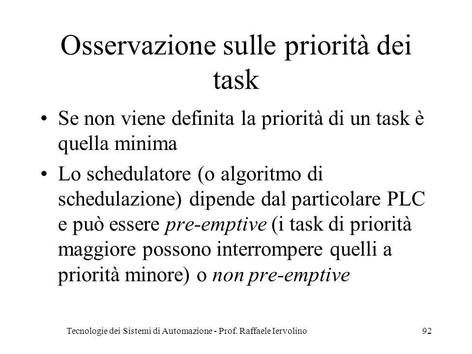 Tecnologie dei Sistemi di Automazione - Prof. Raffaele Iervolino92 Osservazione sulle priorità dei task Se non viene definita la priorità di un task è